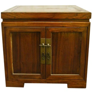 Antique Chinese Brown Lacquered Bedside Cabinet with Brass Hardware, circa 1900 For Sale