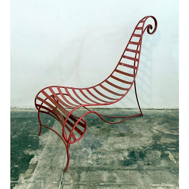 Postmodern Iron Spine Chair Attributed to Andre Dubreuil For Sale - Image 3 of 11