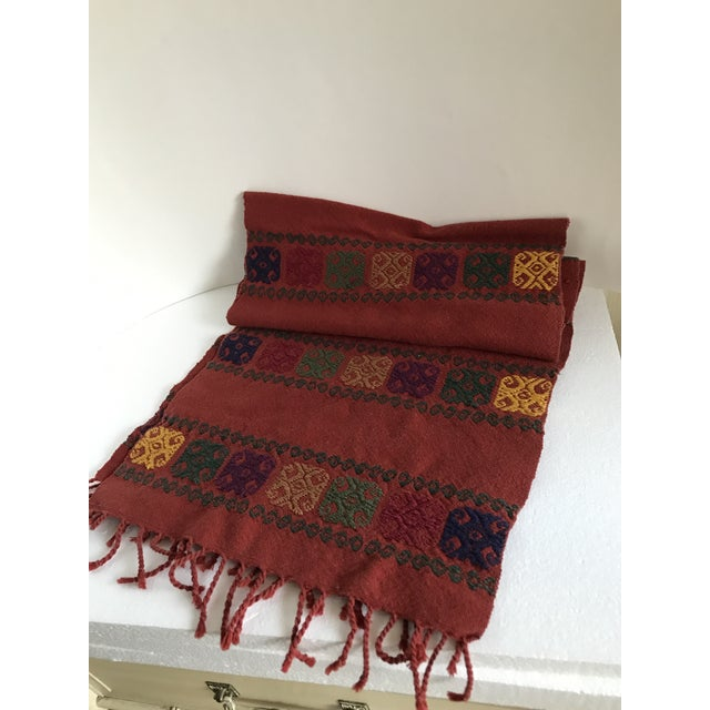 1970s Boho Embroidered Table Runner With Fringe For Sale - Image 5 of 8