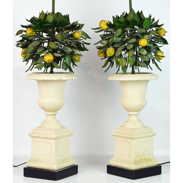 These decorative Italian lemon bush lamps feature hand painted tole leaves and individual lemons set in cast stone...