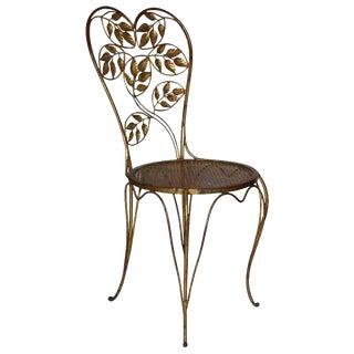 1960s Vintage Gilt Iron Italian Heart Back Chair For Sale