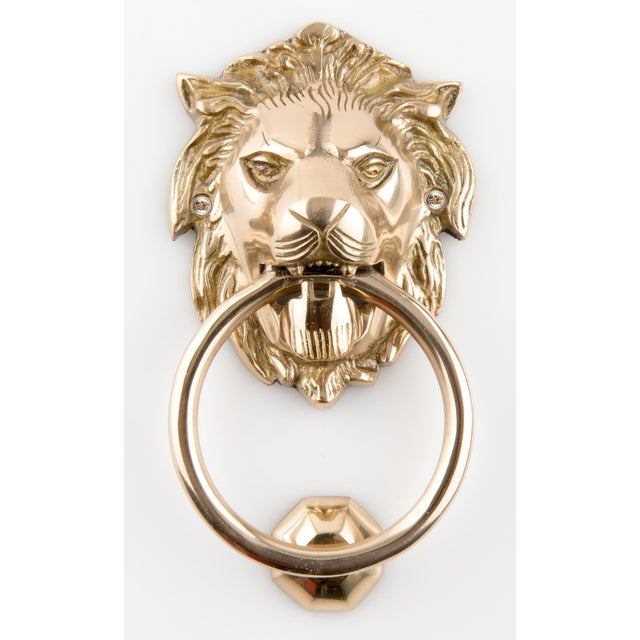 Solid Brass Lion Head Door Knocker With Striker For Sale - Image 4 of 4