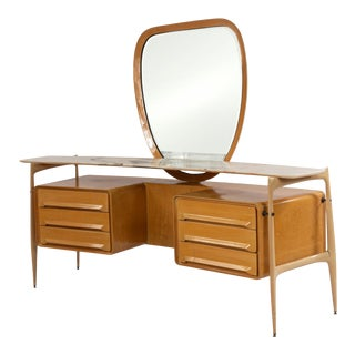 1950s Silvio Cavatorta Italian Mid-Century Maple Vanity & Mirror For Sale