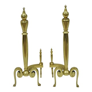 Antique French Art Nouveau Style Brass Urn Finial Fireplace Andirons - a Pair For Sale