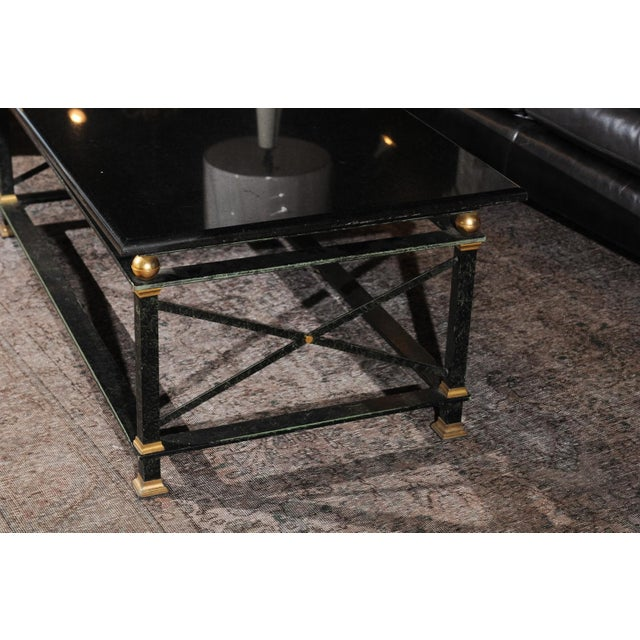 Black French Parisian Coffee Table with Black Marble Top, Iron Base and Brass Accents For Sale - Image 8 of 12