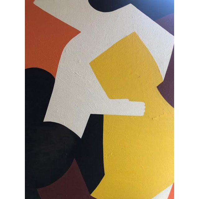 1960s Vintage Mg Christian Abstract Geometric Oil on Canvas Painting For Sale - Image 9 of 12