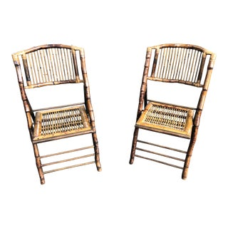 Vintage Bamboo Tortoise Folding Chairs - a Pair