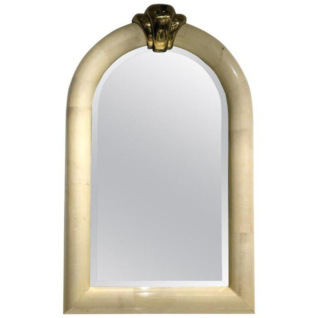 1980s Goatskin and Brass Wall Mirror in the Manner of Karl Springer For Sale - Image 5 of 5