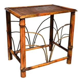 Chinoiserie Tortoise Shell Bamboo, Cane and Bentwood Side Table For Sale