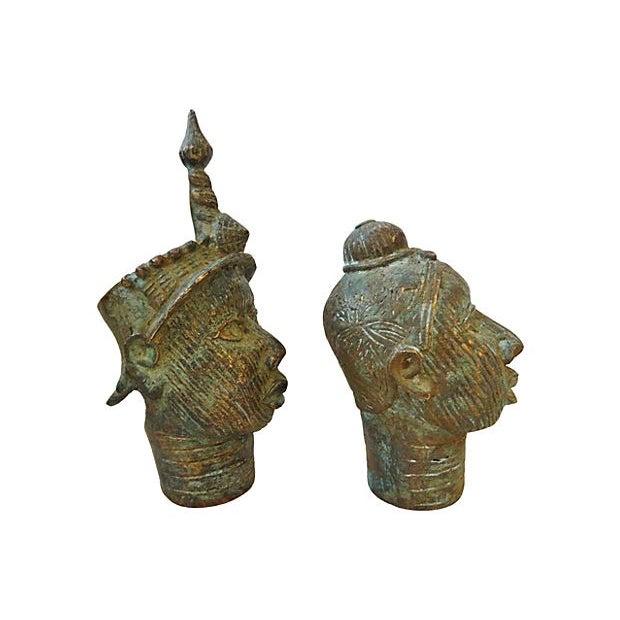 African King & Queen Benin Bronze Heads - Image 3 of 7