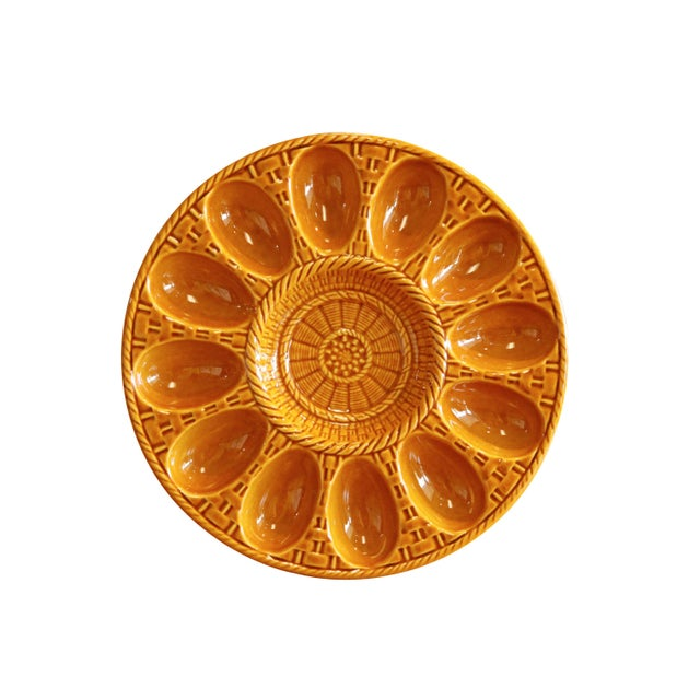 Late 20th Century Portuguese Ceramic Deviled Egg Serving Dish For Sale - Image 5 of 5