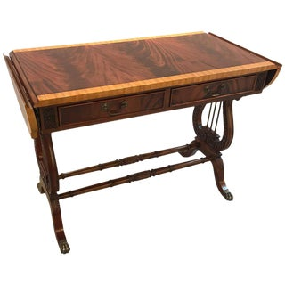 1980s Regency Mahogany Drop Leaf Console Table For Sale