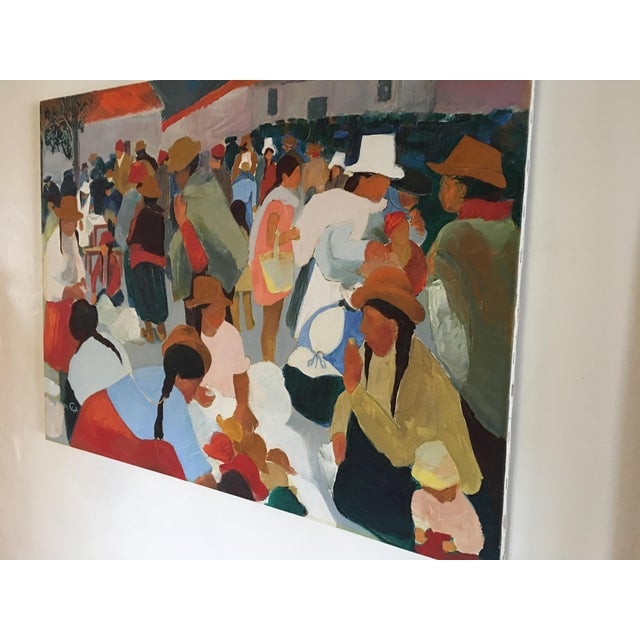Modern Contemporary Colorful Market Scene Oil Painting - Image 6 of 7