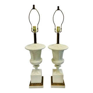 1950s Vintage Paul Hanson Neoclassical White Porcelain and Marble Lamps- a Pair For Sale