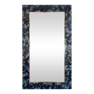 Mottled Blue Ceramic Tile Mirror For Sale