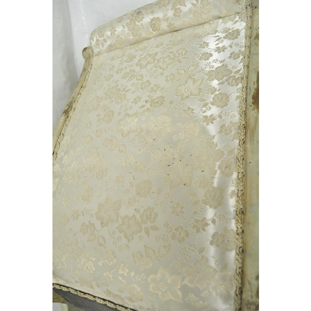 Antique Small Victorian Tufted Carved Wood Distress Painted Slipper Accent Chair - Image 10 of 11