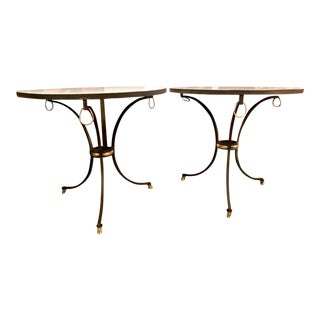 Pair Forged Iron Tables, Maison Jansen Attributed For Sale