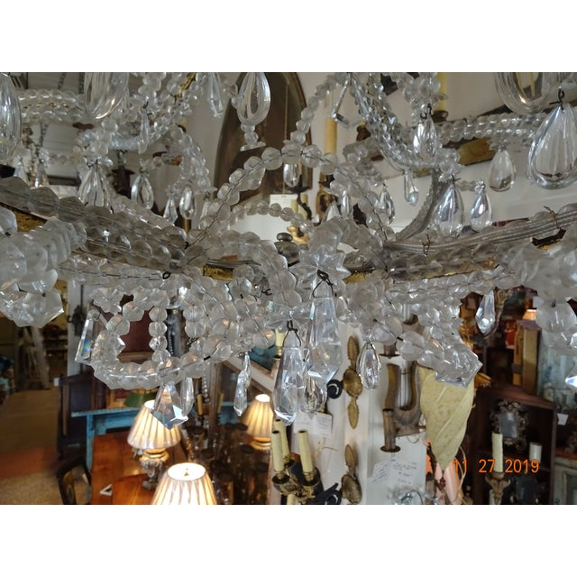 Silver French Crystal Chandelier For Sale - Image 8 of 12
