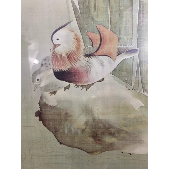 Vintage Mid-Century Irises and Water Fowl Framed Japanese Print For Sale - Image 4 of 13