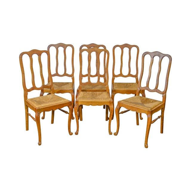 French Country Style Antique Oak Rush Seat Dining Chairs - Set of 6 For Sale - Image 13 of 13