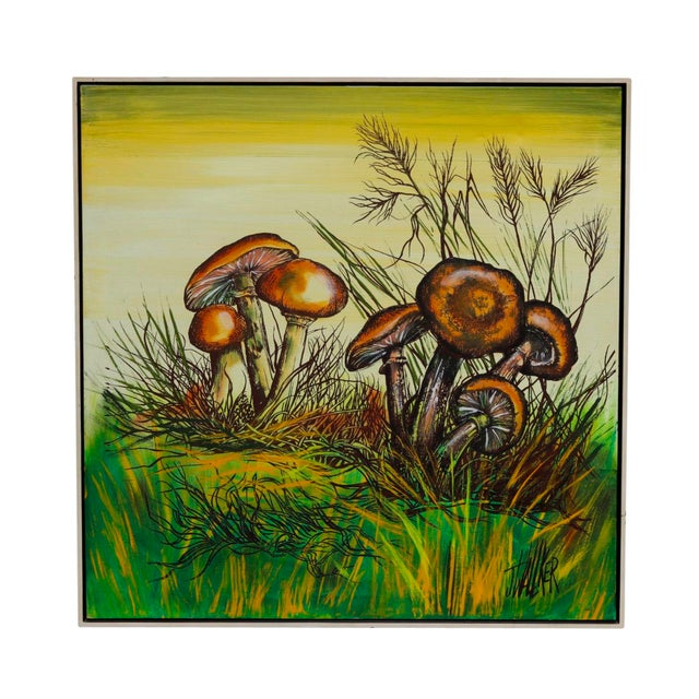 A richly detailed mixed media on canvas signed by the artist 'J Walker'. Groups of field mushrooms with gold bell caps are...