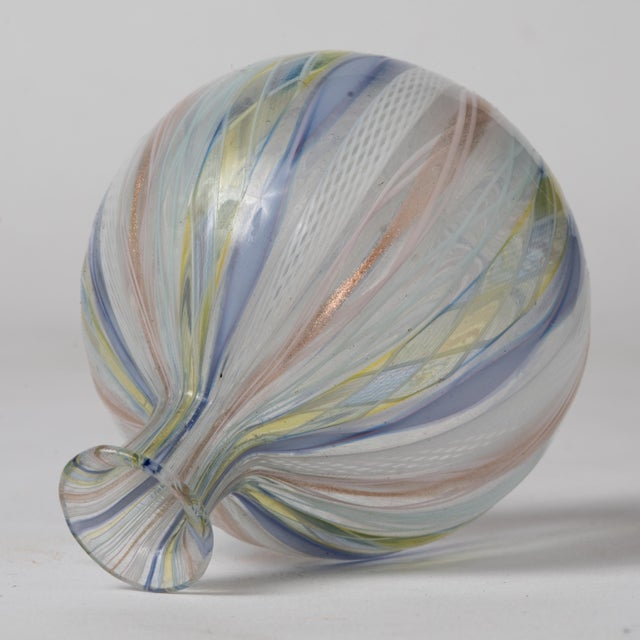 Art Glass Mid Century Murano Latticino Zanfirico Italian Ribbons Art Glass Bud Vase For Sale - Image 7 of 8