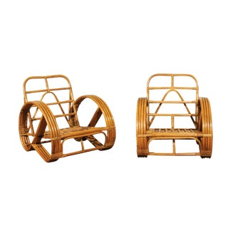 Stellar Restored Pair of Rattan and Cane Round Pretzel Loungers, circa 1950 For Sale