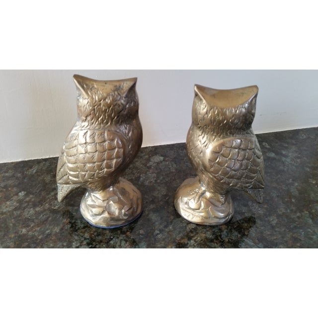 Mid-Century Modern Mid-Century Brass Owl Bookends - A Pair For Sale - Image 3 of 3
