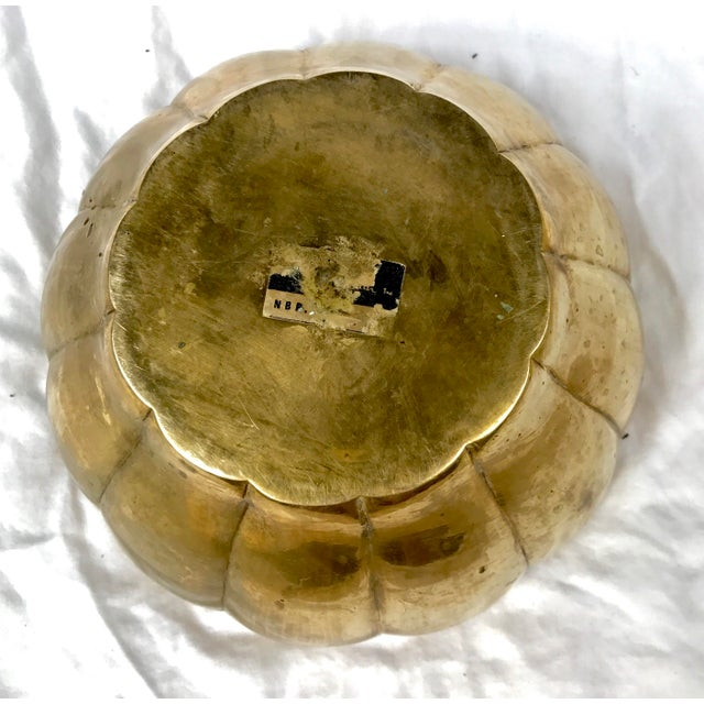 Hollywood Regency Scalloped Brass Bowl - Image 5 of 5