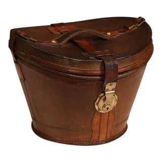 18th Century French Pigskin Leather Hat Box From Paris