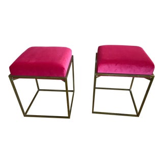 Red Velvet and Brass Stools - a Pair For Sale