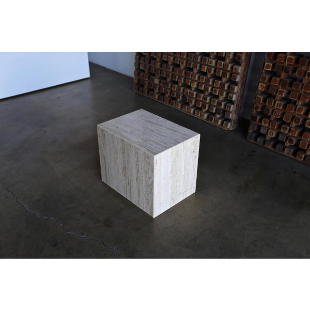 1975 Mid-Century Modern Travertine Pedestal or Side Table For Sale - Image 11 of 13