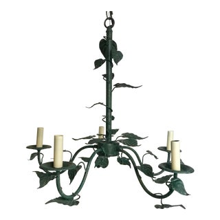 20th Century Shabby Chic Ivy Botanical 5 Light Chandelier For Sale