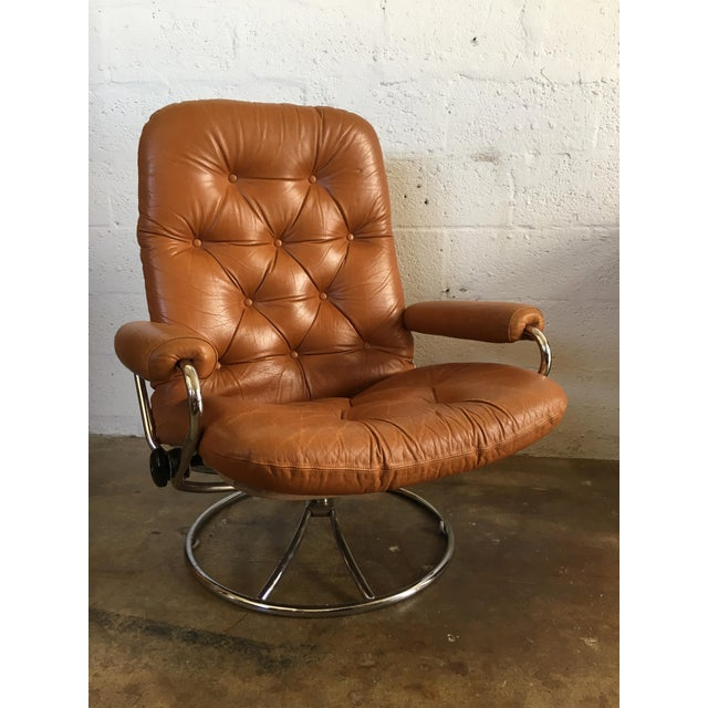 Vintage Mid-Century Modern Reclining Chair By Ekornes Stressless (A Pair) - Image 3 of 11