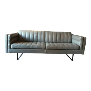 Modern Italian Mid-Century Style Leather Sofa For Sale