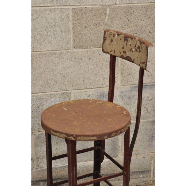Early 20th Century Antique Steel Metal Industrial Drafting Architect Work Stool For Sale - Image 5 of 12