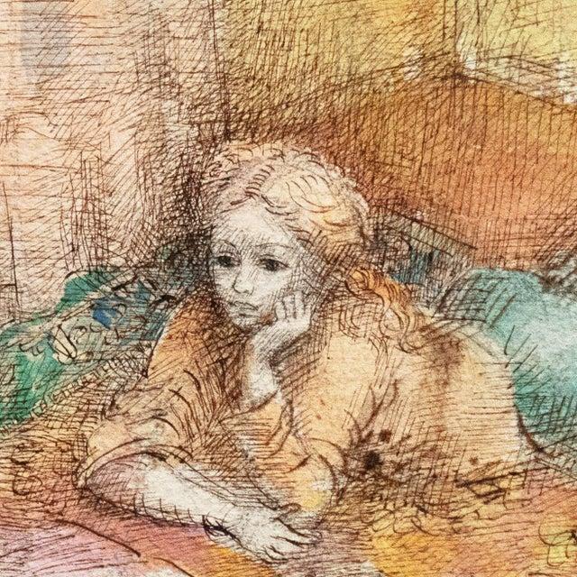 Impressionist 'Jeudi à La Maison' by Lucien Philippe Moretti, French Post-Impressionist, Ecole Des Beaux-Arts For Sale - Image 3 of 10