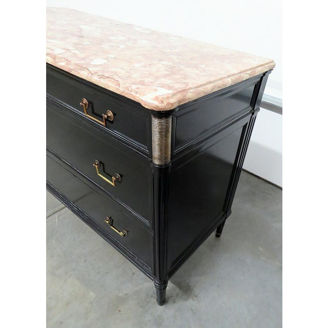Bronze Directoire Style Marble Top Ebonized Commode For Sale - Image 7 of 12