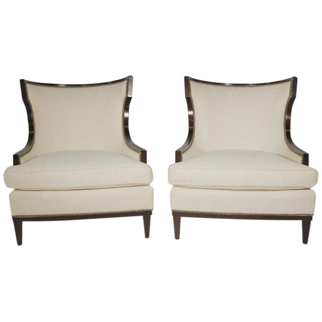 1950s Vintage Barbara Barry Modern Style Upholstered Chairs- A Pair For Sale