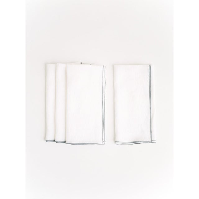 Modern White with Gray Trim Linen Napkin - Set of 6 For Sale - Image 3 of 4