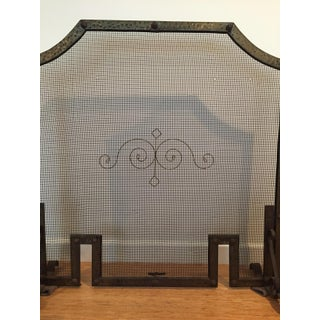 Antique Forged Iron and Hammered Brass Fireplace Screen With Andirons - Set of 3 Preview