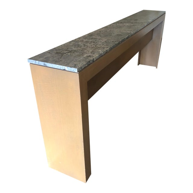 Contemporary Long & Narrow Sleek Birch and Marble Console Table For Sale