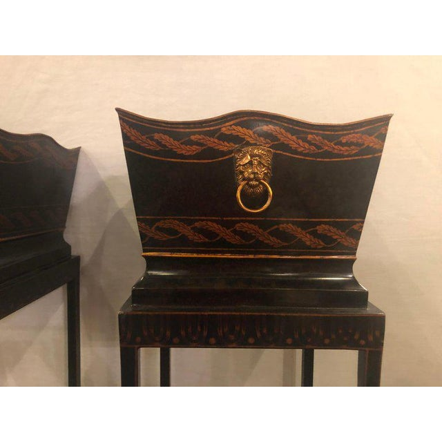 Pair of Georgian Style Tole Jardinières or Planters on Shelved Pedestals For Sale - Image 9 of 13