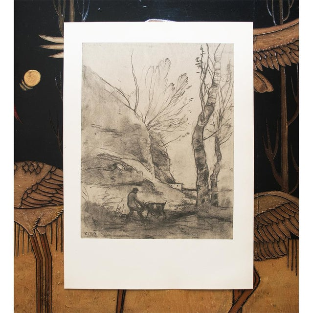 Vintage Cottage Lithograph After Chalk Drawing by Corot For Sale In Dallas - Image 6 of 9