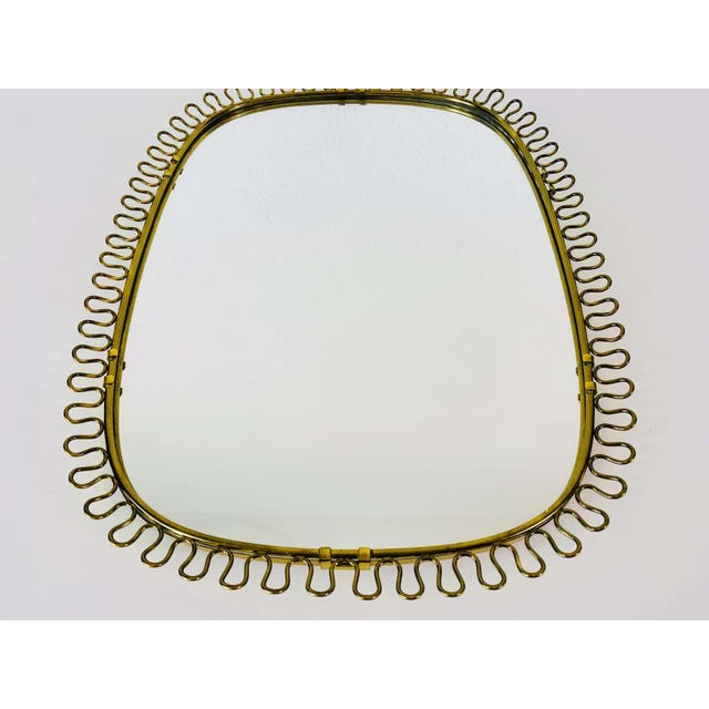 Italian Brass Framed Wall Mirror, 1960s, Italy For Sale - Image 4 of 11