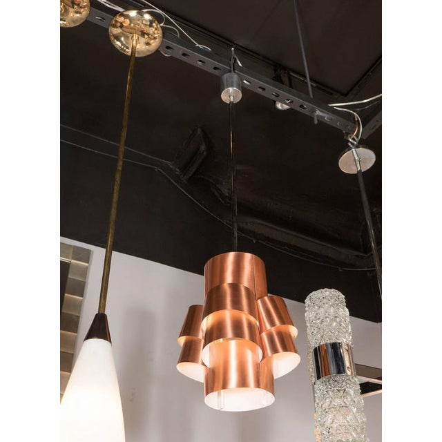 Stunning Segmented Sculptural Pendant Lamp in Copper by Hans-Agne Jakobsson For Sale In New York - Image 6 of 8