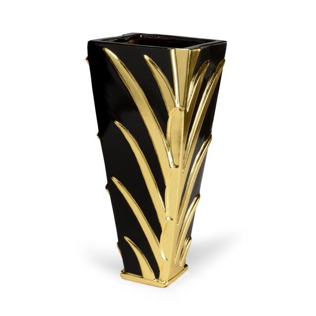 Contemporary Black & Gold Leaf Vase For Sale - Image 3 of 3