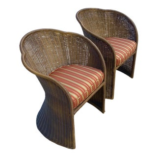 Vintage Coastal Shellback Rattan Chairs - a Pair For Sale