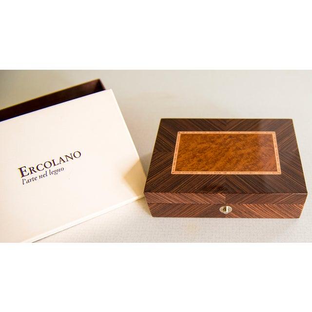 Ercolano Handmade Brown Wood Inlays Card Box - Image 3 of 4