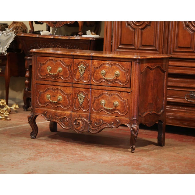 Mid 18th Century 18th Century Louis XV Period Carved Walnut Two-Drawer Commode From Fourques For Sale - Image 5 of 11